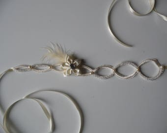 Bridal headband wedding flower ivory lace headband feather bicone beads Czech evening hairstyle parties