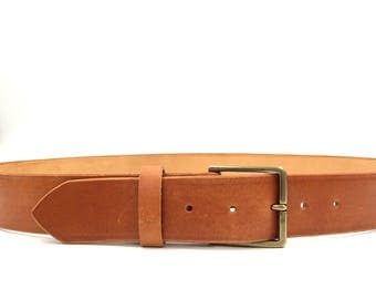 Best quality unisex leather tanned leather belt with solid brass buckle, hand made, polished edges. M3
