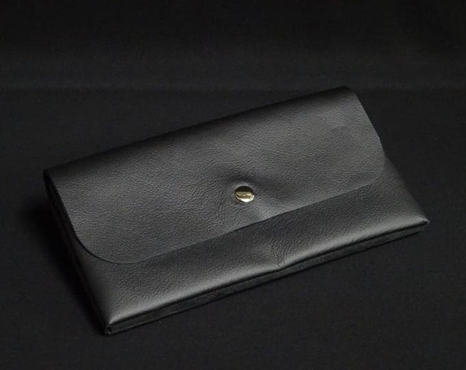 James Flat Purse - Black - Kangaroo leather purse with RFID Credit Card Blocking - Handmade in Australia -James Watson