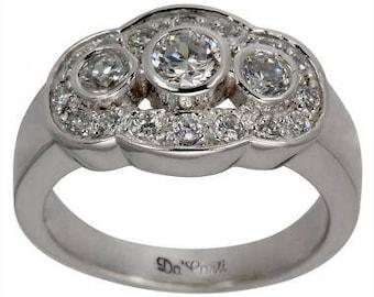 Vintage Three Diamond Wedding Ring With Diamond Accents