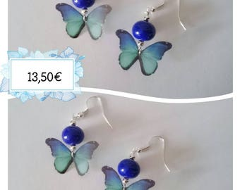 Unique butterfly earrings and blue beads