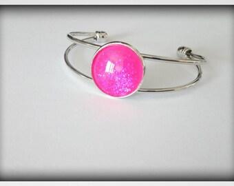 Bracelet stiff unique_ glittery Cabochon