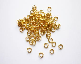 Lot 100 rings gold plated 5 mm open - 1 mm thick - European standard