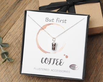 Coffee Necklace, Coffee Lover, Coffee Tumbler, Latte, Tumbler Charm, Coffee Gift, Coffee Drinker, Gift Idea, Coffee Jewelry, Mom Gift