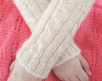 Beige arm warmers, fingerless alpaca  gloves, cable design fluffy mohair wristlets.