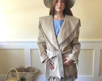 Vintage 1980's fringe suede jacket, vintage suede jacket, cream suede, womans jacket, leather jacket, vintage jacket, western wear fringe