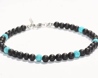Jewelry anklet/ankle Agate/Turquoise stone Bracelet + stainless steel