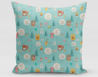 Let's Camp Children's Square Pillow   Home Decor   Studio Carrie   Gift
