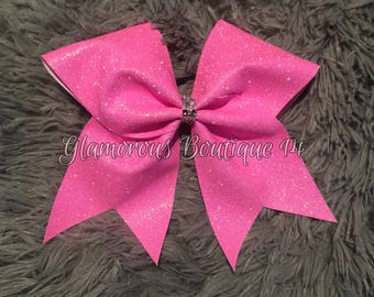 Glitter Neon Pink Cheer Bow