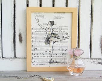 Framed Ballet Art, Dictionary Print, Ballerina Print, Book Art, Nursery Decor, Gift For Girl, Dance Teacher Gift, Kids Room Decor