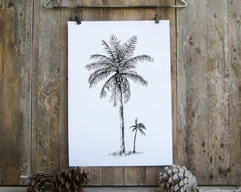 Botanical Print,  Printable Art,  Palm Tree Art, Botanical Art,  Palm Tree Print, Printable Wall Art,  Eco Friendly, Black and White Prints