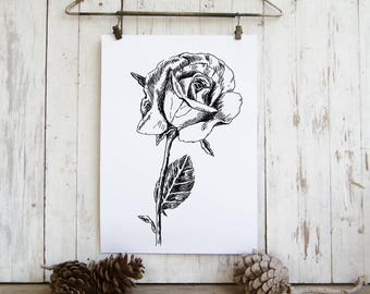 Rose sketch, Valentines gift, Black and white flower print, Printable wall art,  Hipster room decor, Art & collectibles, Teen room decor
