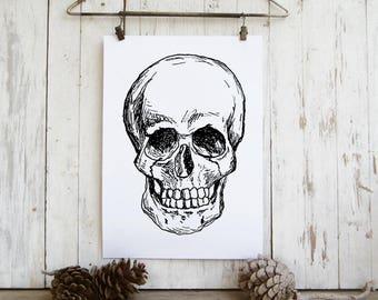 Skull art print - Black and white halloween decor, Printable wall art, Gothic printable, Hipster room decor, diy