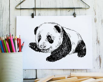 Baby Panda Printable, Cute Panda Poster, Woodland Animals, Panda Gift, Nursery Decor, Cute Animals, Woodland Nursery, Gift For Kids