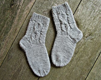 Hand knit socks Wool knit socks Winter knit socks Cosy cable socks Woolen knitted socks Cable knit socks Cute best christmas gift for her