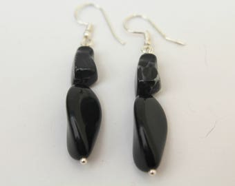 Black Acrylic Beaded Earrings