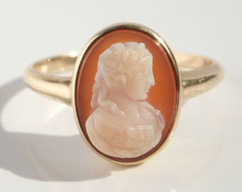 Antique 14k Hardstone Cameo Victorian Ring Size 7.5