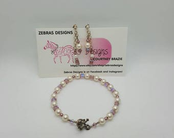 Pearl and crystal bracelet and earring set (JS009)