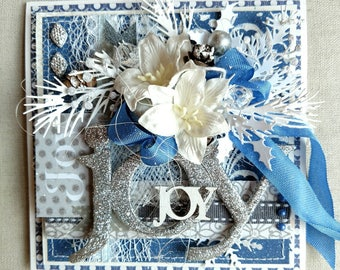 Beautiful Handmade Shabby Chic Christmas Greeting Card #WC2017-127