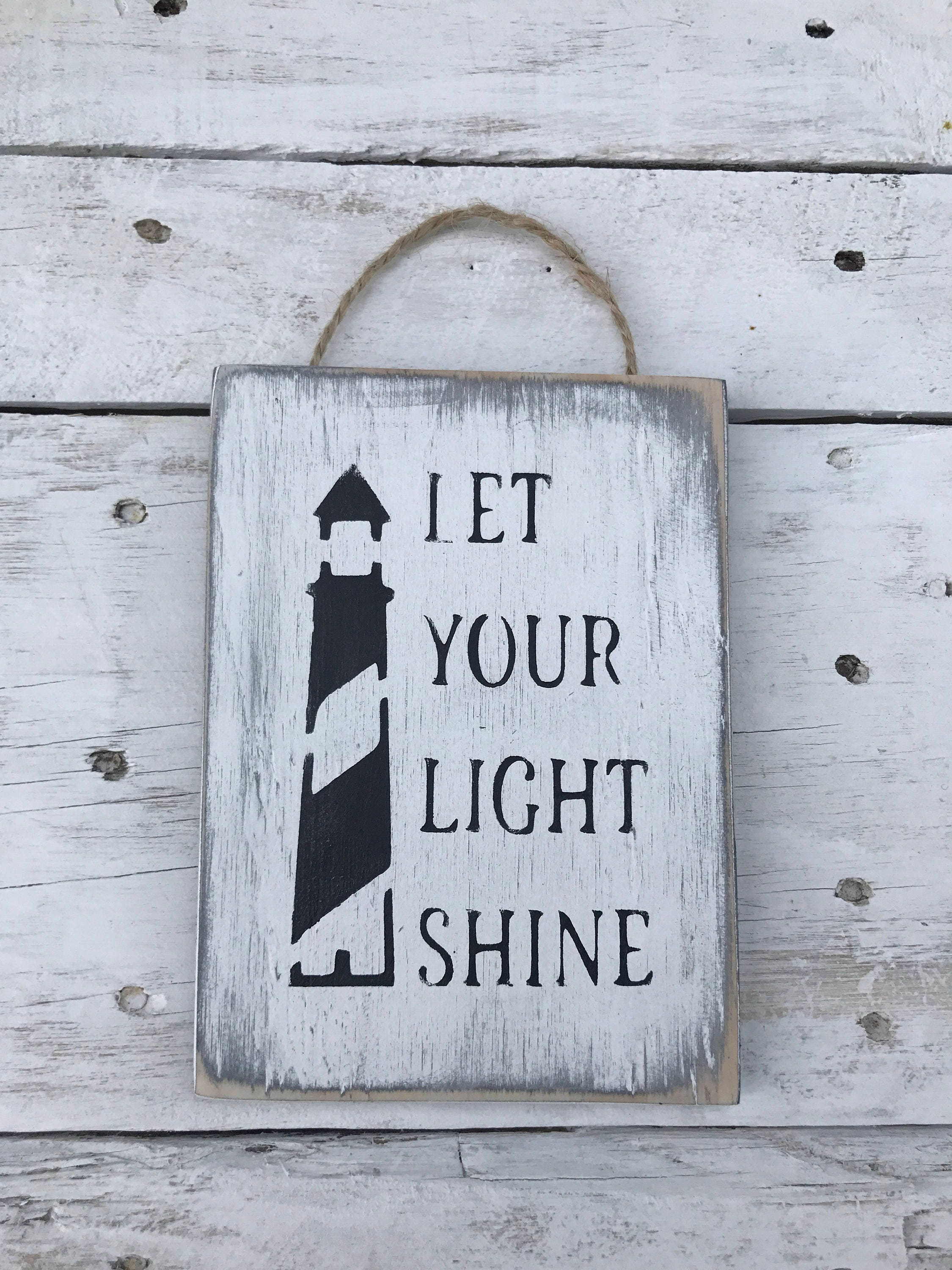 Let Your Light Shine - Inspirational Quote Motivational Signs Wooden ...