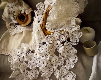 White Crochet Lace Handmade lace Crochet Trim Edging Natural Cotton crochet lace White Cotton crochet lace ending White flower crochet lace