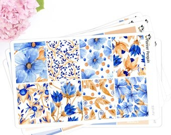 Blue Floral Weekly Kit Stickers For Vertical life planner or Mambi Happy Planner // #S31