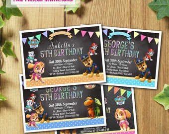 32x Paw Patrol Birthday Party Invitations Personalised with Envelopes More Colours to Choose From Printed & Delivered in UK