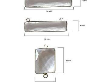 CLEAR QUARTZ RECTANGLE 10X40 mm silver double q