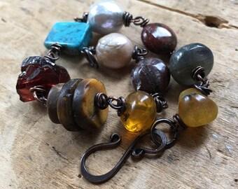 Pearl and gemstone bracelet, rustic copper, oxidized copper jewelry, handmade jewelry