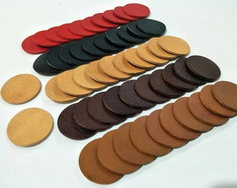 Leather Circles, 35 mm.(3.5 cm.),50 pcs.,(25 Pairs) Mixed Colors, Circles Die Cut, Circles Shape, Circles Cut Outs, Vegetable Tanned Leather