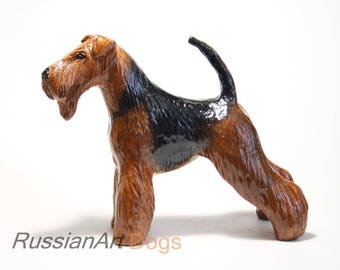 Airedale, welsh terrier statue, figurine handmade of ceramic, statuette