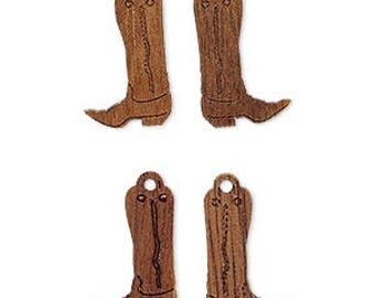 Cowboy Boots Charm, Wood Boots, Western Charm, 16x11mm 2 Each, D965