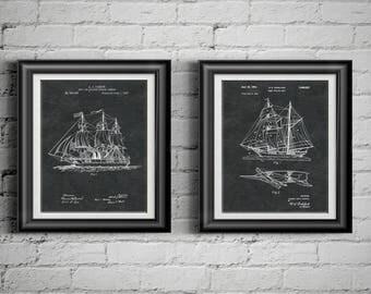 Nautical Art Sailing Patent Print Nautical Artwork Gift 4 Sailor Retirement Gift Nautical Bathroom Art Nautical Nursery Art Set of 2 PP 8290