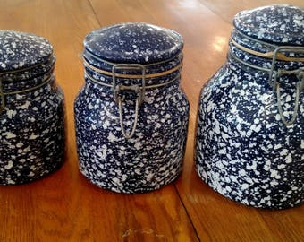 Blue and White Speckled Canister Jars