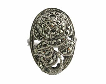 Art Deco Sterling Silver Marcasite Rose Ring