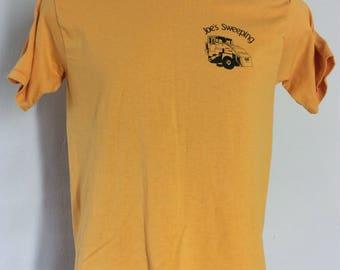 Vtg 80s Joe's Sweeping T-Shirt Yellow S/M 50/50 Street Cleaner Truck