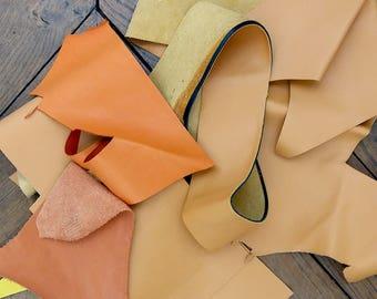 Orange calf leather scraps