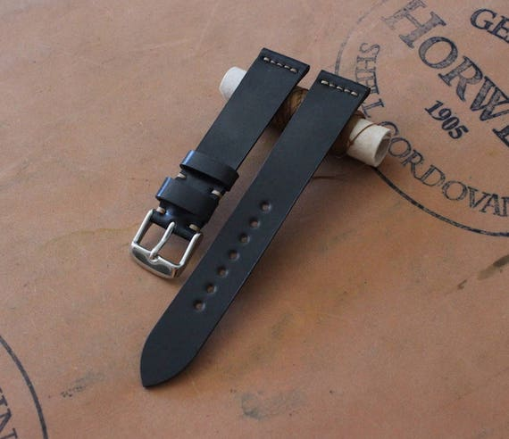 Custom 18/16mm Horween Shell Cordovan watch band - simple stitching