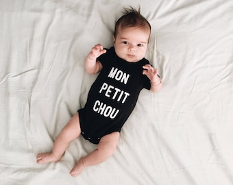 Organic unisex Baby onesie MON PETIT CHOU on black minimal statement onesie