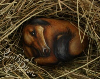 Horse Painted Stone ~ Bay Horse Painting on a Rock, Brown Pony with Black Mane and Tail