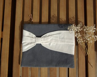 Large pouch and its maxi bow (cotton and linen mix)