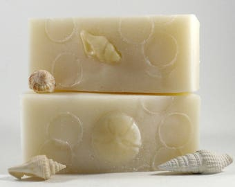 Suds in the Sea, ocean scent - Coconut Oil Soap  / Handmade Lemongrass Rosemary Spearmint Essential Oil, Palm Free Facial Soap