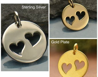 Sterling Silver, Disc Charm, Two Heart, Heart Cutout, Heart Charm, Silver Heart Charm, Love Charm, Heart Jewelry, Love Jewelry