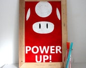 Super Mario Wall Art - Power Up Mushroom - Gift for Gamers - Games Room Decor - Gift for Geeks - Man Cave Decor - Christmas Gift