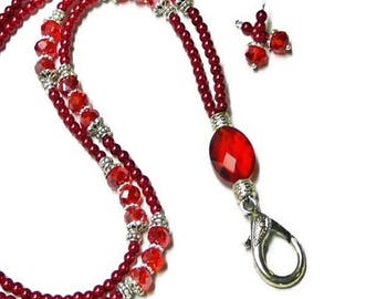 Red pearl and crystal, Beaded Lanyard Necklace, Work ID badge holder