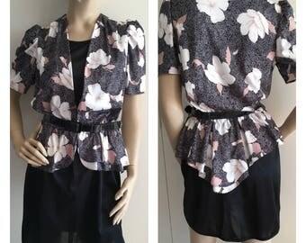 Vintage 80s Dress - Black Peplum Dress - Office Fashion - 80s Fashion - 80s - Small/Medium
