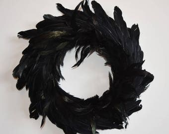 Black Feather Gothic Halloween Wreath- Large