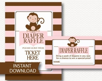 Diaper Raffle Monkey Girl Baby Shower Invitation Insert Instant Download - Cute Pink Brown Stripe Banner Pendant Girl printable game B108