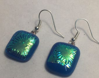 Blue and Green fused glass earrings