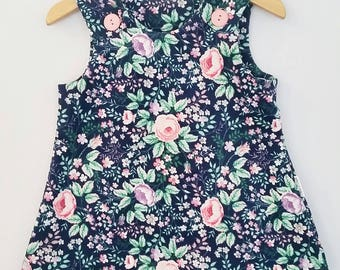 Navy floral corduroy girls dress